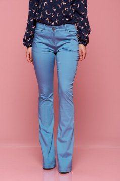 PrettyGirl blue office form-fitting trousers with pockets