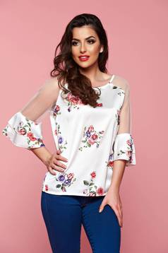 Bell sleeve white women`s blouse with floral prints
