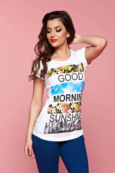 White casual t-shirt with text