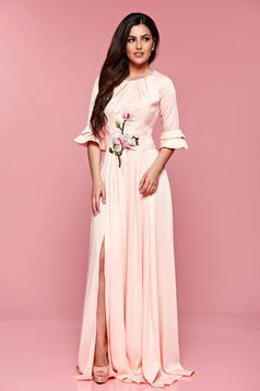 Artista rosa elegant long dress bell sleeve