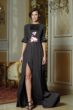 Artista black elegant long dress bell sleeve