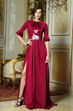 Artista burgundy elegant long dress with bell sleeve