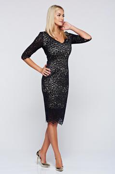 StarShinerS black occasional pencil dress with v-neckline
