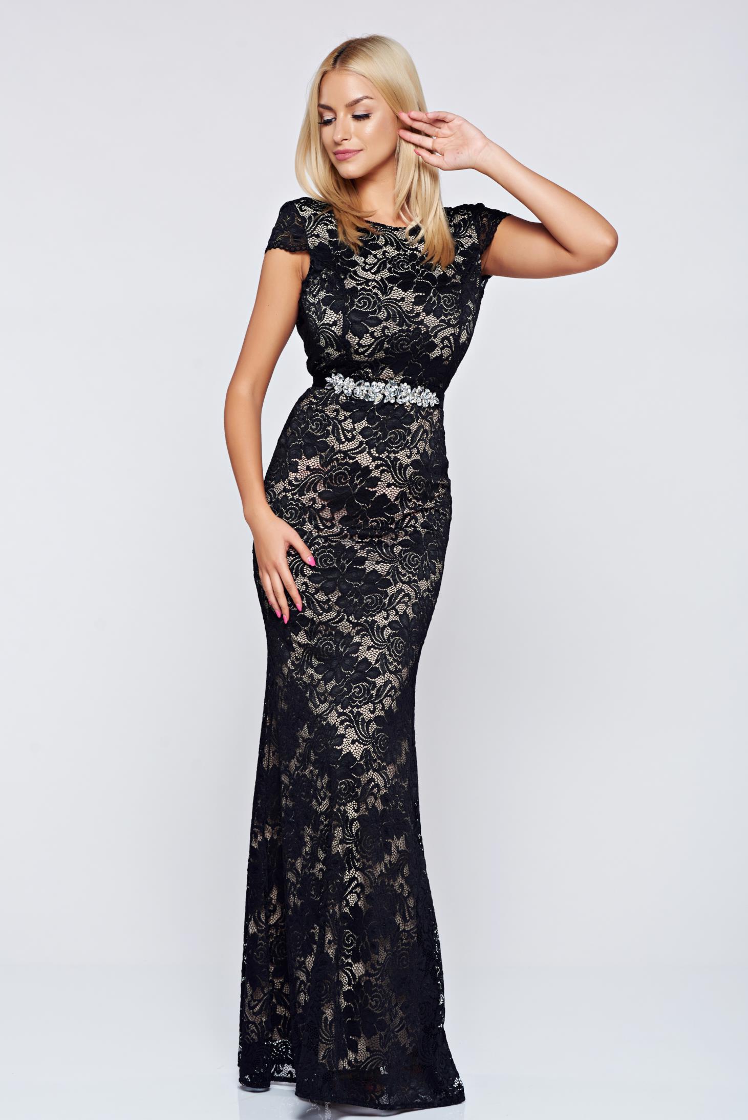 StarShinerS fekete alkalmi ruha csipkés anyagból 97c76e63a2