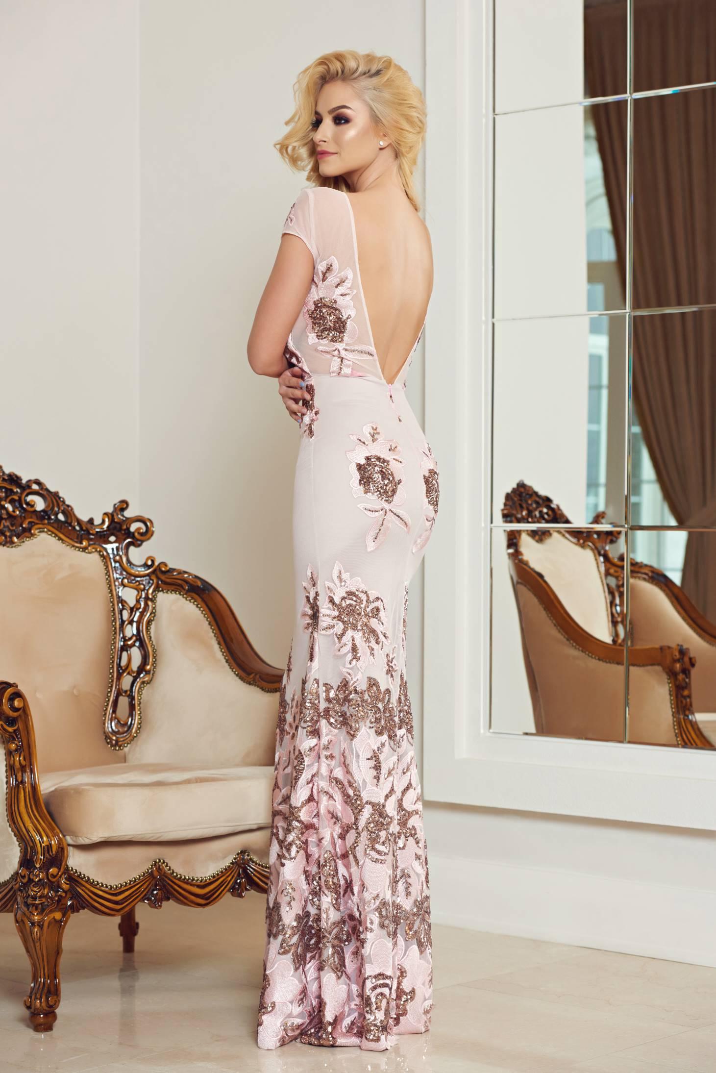 StarShinerS rosa bareback mermaid dress with sequin embellished details