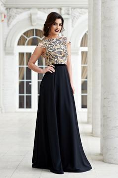 StarShinerS black laced evening bareback dress