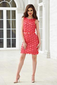 StarShinerS coral occasional pencil dress with floral details