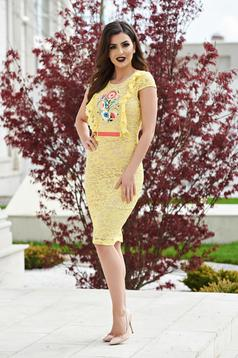StarShinerS occasional yellow laced embroidered dress