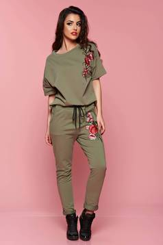 Short sleeve green women`s blouse embroidery details