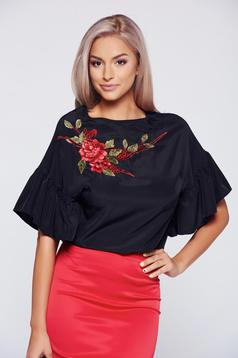 StarShinerS black elegant embroidered women`s blouse with short sleeve