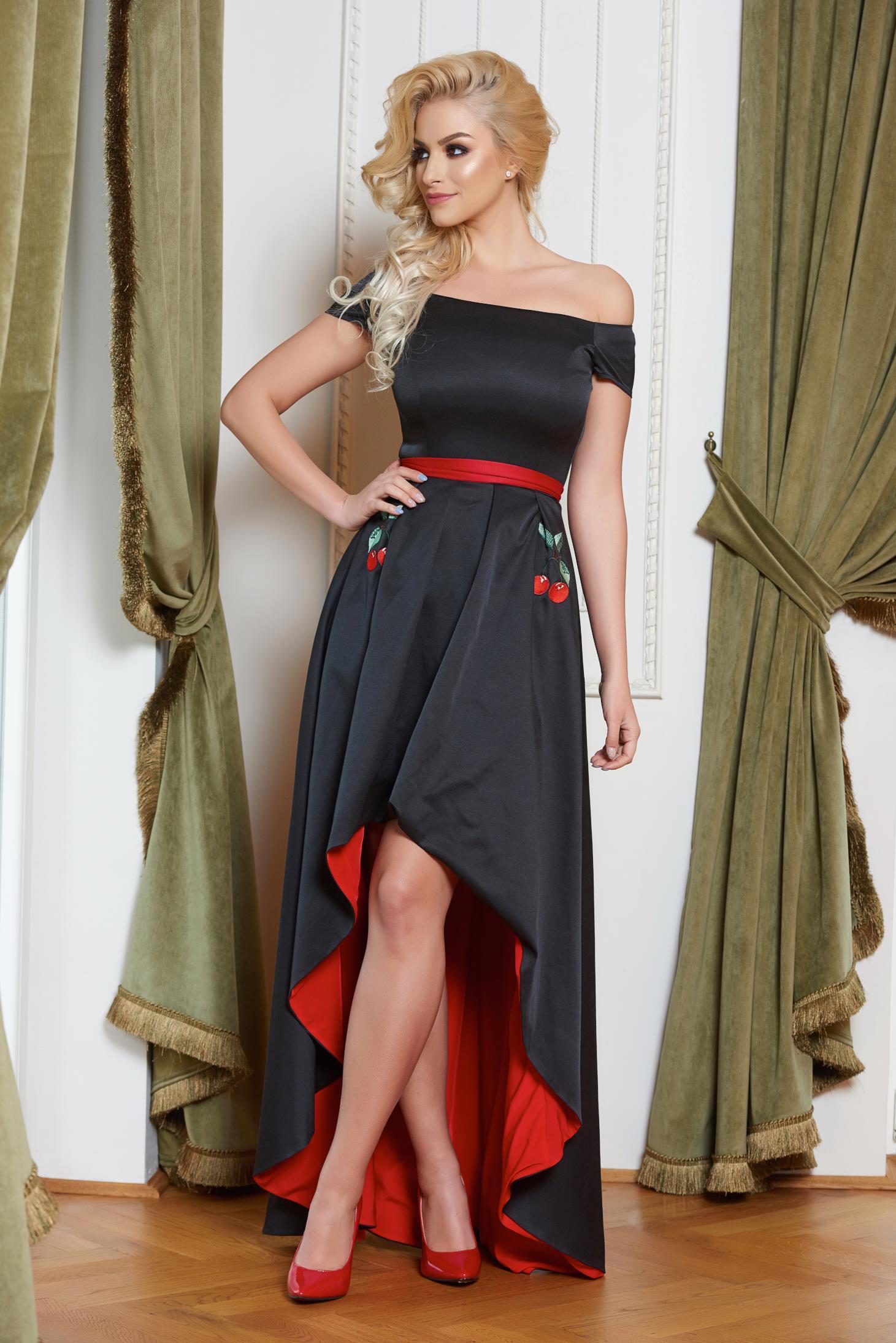 1500b55e7e StarShinerS fekete alkalmi hímzett váll nélküli ruha