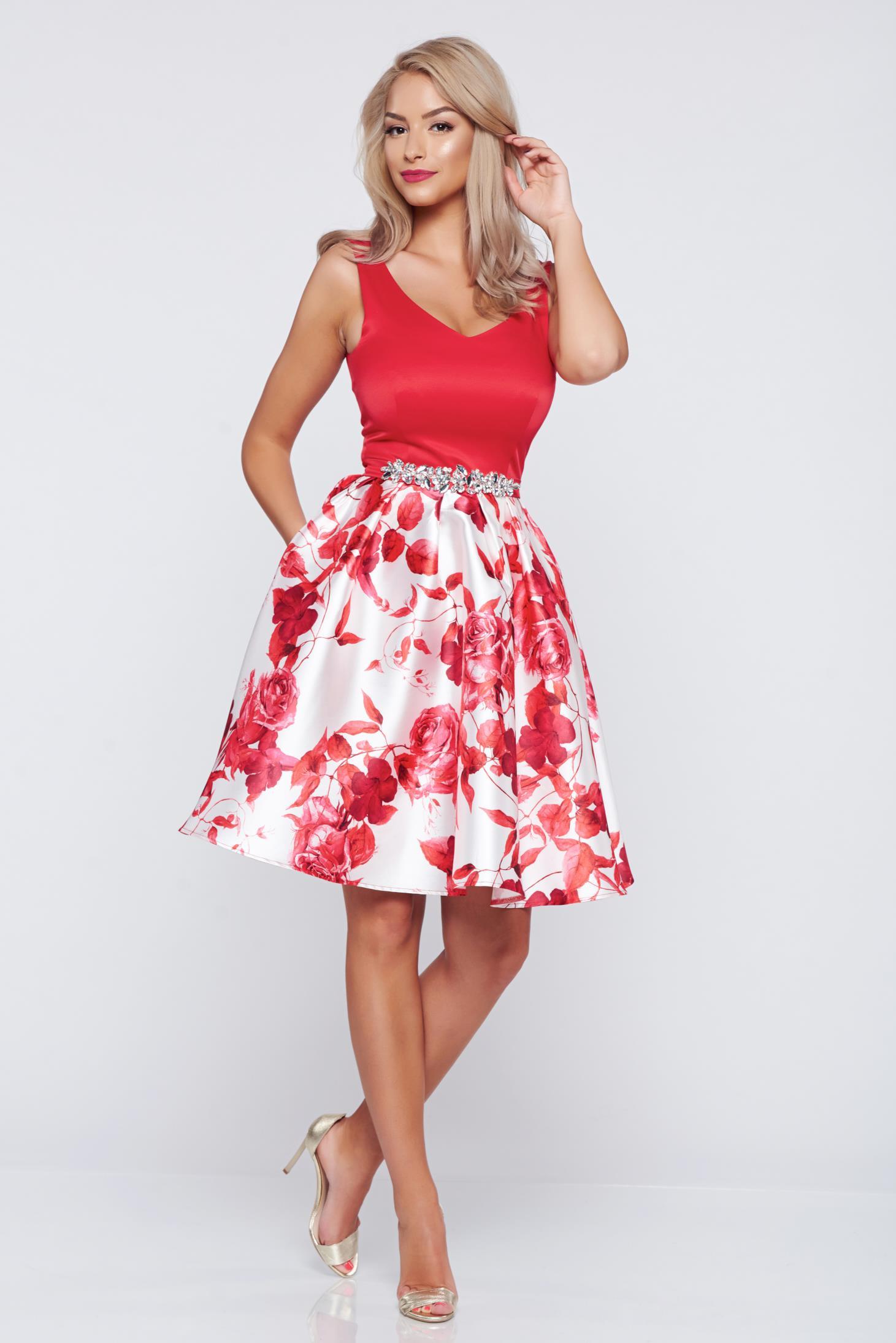 Piros StarShinerS a-vonalú alkalmi ruha virágmintás díszítéssel bd4541784f