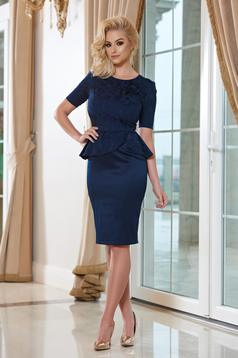 StarShinerS darkblue elegant frilled waist pencil dress