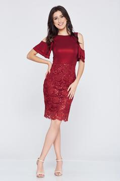 StarShinerS occasional burgundy pencil dress both shoulders cut out