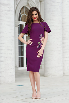 StarShinerS purple elegant pencil dress with embroidery details