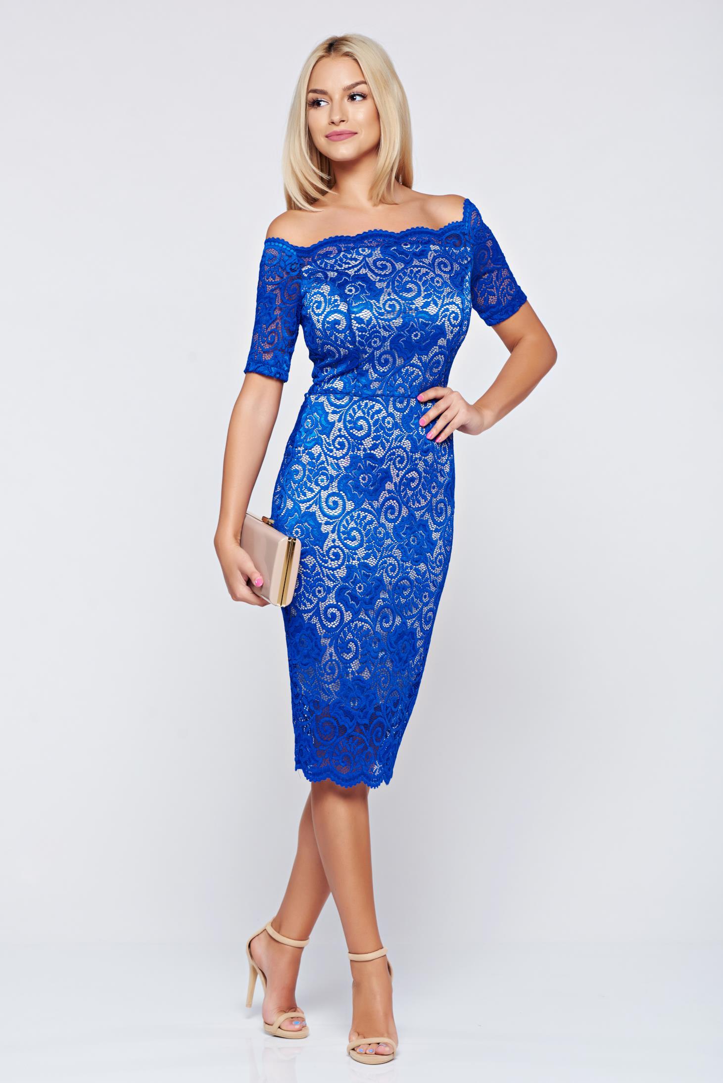 Kék StarShinerS alkalmi ruha csipkés anyagból a25dfe51f1