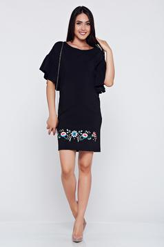 StarShinerS embroidered black elegant dress with bell sleeves