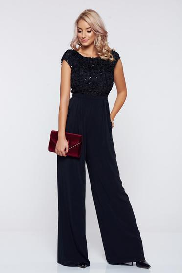 Long StarShinerS black occasional jumpsuit with short sleeves