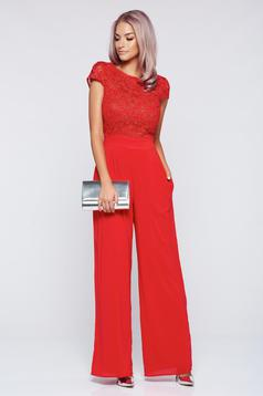 StarShinerS elegant red laced jumpsuit with short sleeve