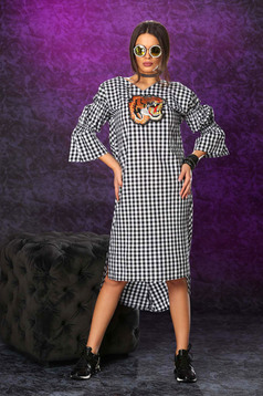 Ocassion black dress plaid fabric bell sleeve