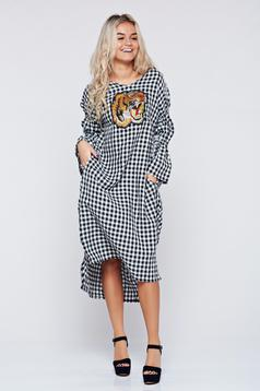 Ocassion black plaid fabric dress with bell sleeve