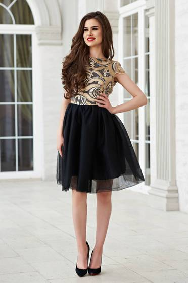 StarShinerS black tulle cloche dress with back cut