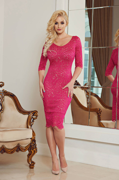 StarShinerS fuchsia occasional pencil dress with v-neckline