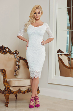 StarShinerS white occasional pencil dress with v-neckline