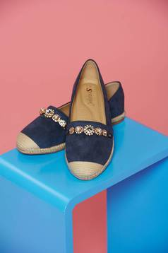 Blue casual flat shoes with pearl embellished details