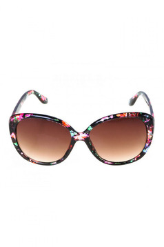 Red round lens sunglass with floral prints