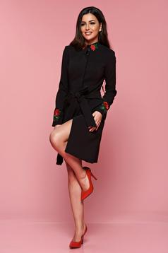 Artista elegant black cloche trenchcoat with embroidery details