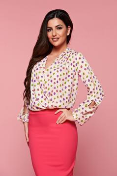 PrettyGirl easy cream elegant voile fabric women`s blouse