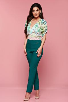 PrettyGirl occasional green jumpsuit with floral and geometrical print