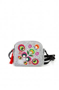 Grey embroidered bag with long, adjustable handle