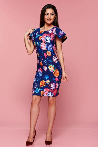 StarShinerS darkblue pencil dress with floral prints