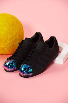 Adidas black natural leather superstar 80s originals sneakers with lace