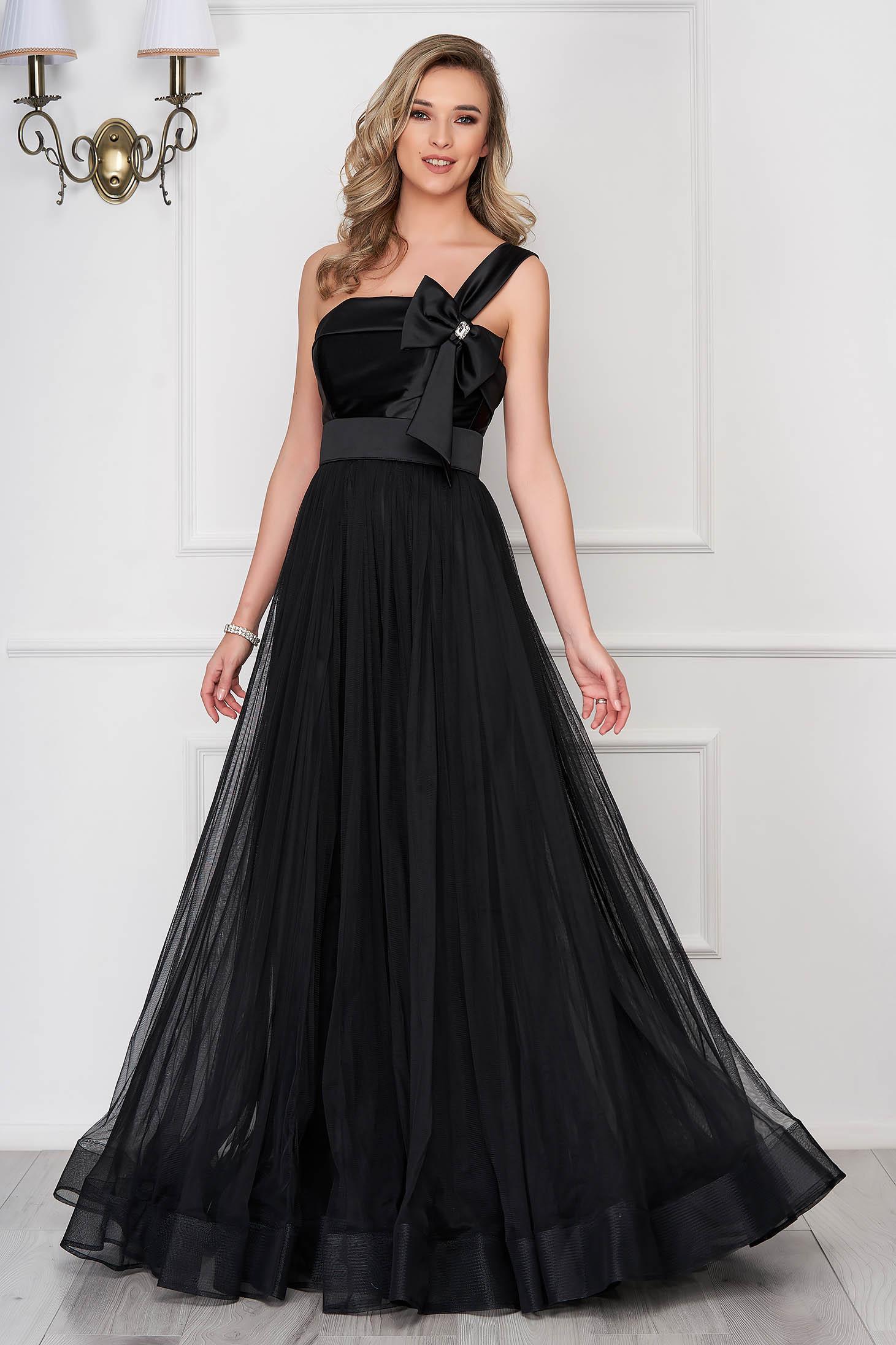 Ana Radu occasional black veil dress with bow shaped accessory