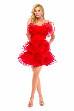 Ana Radu red evening dresses dress with ruffle details