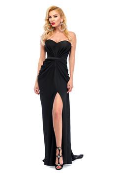 Ana Radu asymmetrical black dress with push-up bra and wrinkled fabric