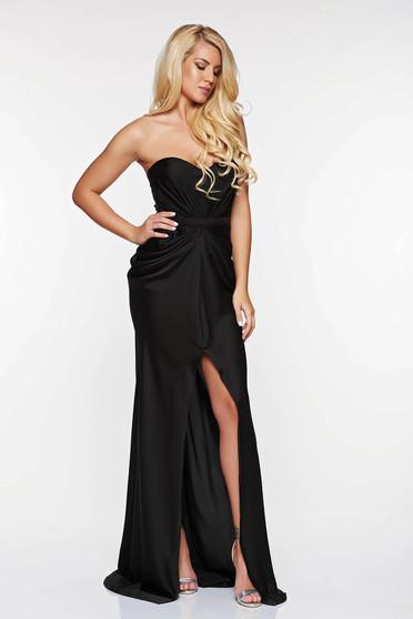 Ana Radu asymmetrical black dress with push-up bra from wrinkled fabric