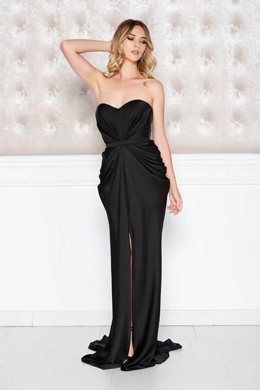 Ana Radu asymmetrical black dress with push-up bra from wrinkled fabric