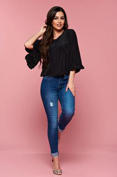 StarShinerS black airy fabric casual women`s blouse