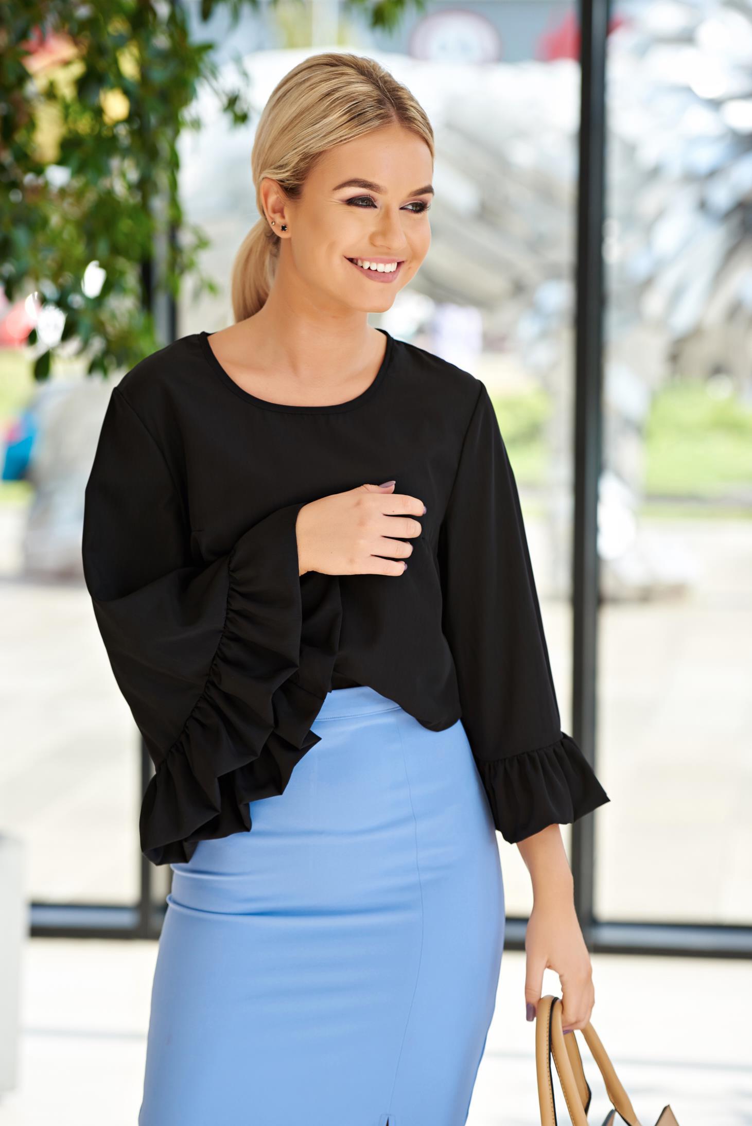 Bluza dama StarShinerS neagra cu croi larg din material vaporos