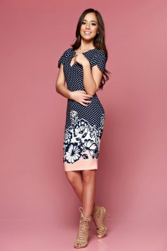 LaDonna peach daily dress with dots print with floral prints