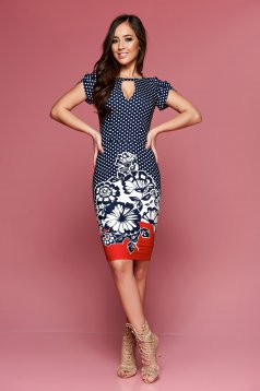 LaDonna red daily dress with dots print with floral prints