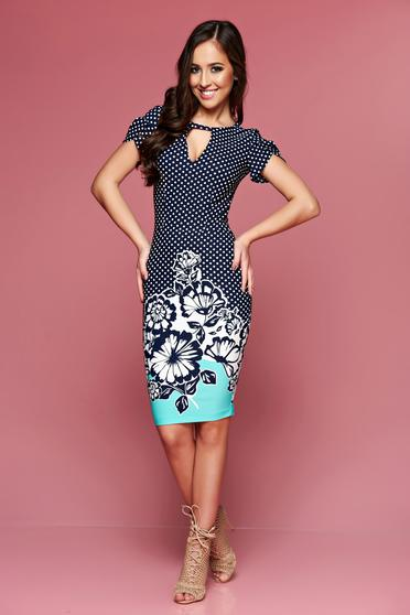 LaDonna mint daily dress with dots print and floral prints