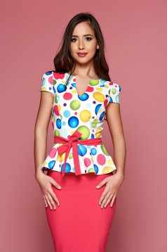 Fofy elegant white frilled women`s blouse with dots print