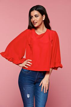 StarShinerS red airy fabric casual women`s blouse