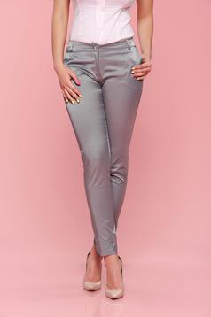 PrettyGirl conical grey trousers with medium waist