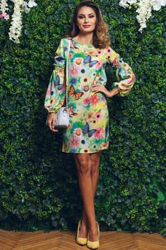 PrettyGirl green easy cut dress with floral prints